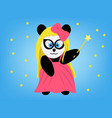 Cute panda in a pink dress with a magic wand