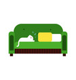 cute white cat lying on a green sofa home pet vector image