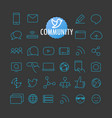 different community icons collection web and vector image vector image