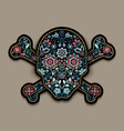 embroidery flower skull for fashion textile and vector image vector image