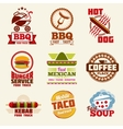 Fast food logo emblems labels and badges vector image