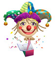 funny clown buffoon head to jump out of box fools vector image vector image