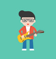 guitarist cute character professional set flat vector image