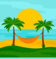 hammock on beach concept background flat vector image