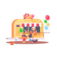 ice cream van with colorful air balloons vector image