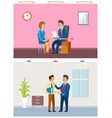 job interview and working task office routine vector image vector image