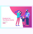 landing page templates happy family travel and vector image