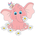 Little elephant with flowers vector image