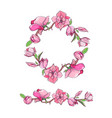 magnolia flower set with wreath hand drawn vector image vector image
