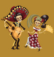man and woman skeletons dancing at party poster vector image vector image