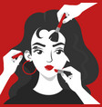 many hands doing make up for woman vector image vector image
