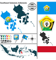Map of Southeast Sulawesi vector image vector image