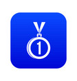 medal for first place icon digital blue vector image vector image
