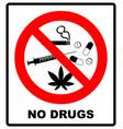 no drugs allowed no capsule marijuana cannabis vector image vector image