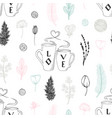 pastel seamless pattern with hand drawn two cups vector image