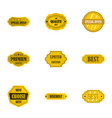 quality golden labels icons set flat style vector image vector image