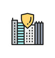 safe city town with shield secure flat color vector image vector image
