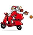 santa ride a scooter vector image vector image