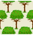 Seamless pattern with green fruit trees vector image vector image