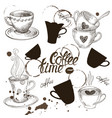 set grunge coffee cup vector image