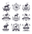 sport labels for polo games monochrome silhouette vector image vector image
