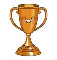 trophy cup symbol kawaii cute cartoon vector image vector image
