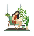 urban jungle woman reading and knitting lady vector image vector image