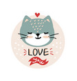 valentines day with cute cartoon cat vector image vector image
