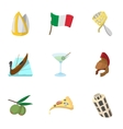 Venice icons set cartoon style vector image vector image