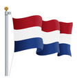 waving netherlands flag isolated on a white vector image vector image