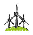 wind turbine renewable energy source icon image vector image vector image