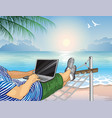 working on the beach with a laptop vector image vector image