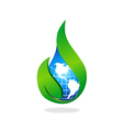 world nature ecology water drop logo vector image vector image