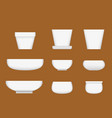 white ceramic bowl in realistic style vector image