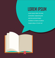 Open book with speech bubble vector image