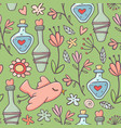 seamless pattern potions birds flowers green vector image