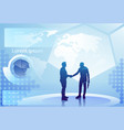 two silhouette businessman hand shake over vector image