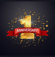 1 anniversary celebrating golden number with red vector image vector image