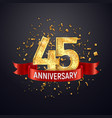 45 years anniversary logo template on dark vector image vector image