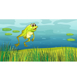 A frog jumping in the grass vector image vector image
