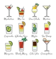 Alcohol cocktails linear icons vector image vector image