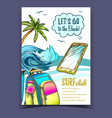 backpack smartphone palm and wave banner vector image