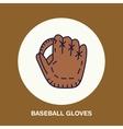 Baseball softball line icon Gloves logo vector image vector image