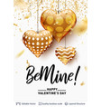 be mine love text and golden hearts on white vector image vector image