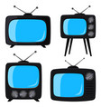 black cartoon various retro tv set vector image vector image