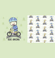 boy use safety riding for ride bike and seamless vector image vector image