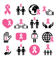 Breast cancer awareness pink ribbons icon set vector image vector image