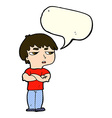 cartoon annoyed boy with speech bubble vector image vector image