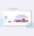 characters refueling car on fuel station landing vector image vector image
