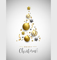 christmas gold pine tree decoration layout card vector image vector image